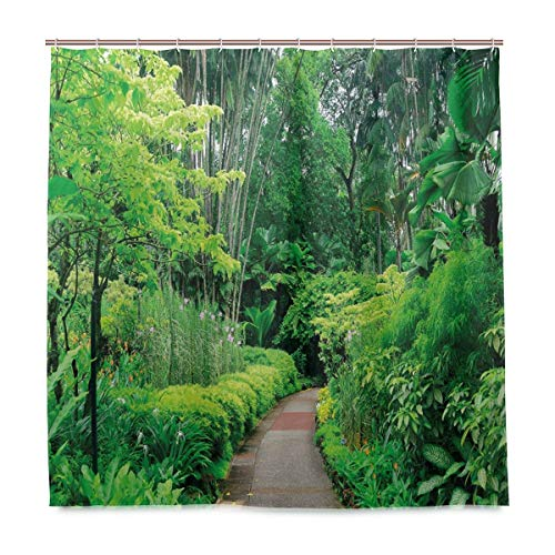 JOSENI Shower Curtain, Green Plants Trees in Singapore Asia Botanic Gardens Walkway Customized Bathroom Shower Curtain Set with Hooks, W66 xH72
