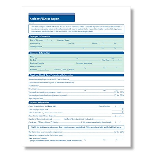 ComplyRight Accident/Illness Report, Pack of 25 (N904225) by ComplyRight