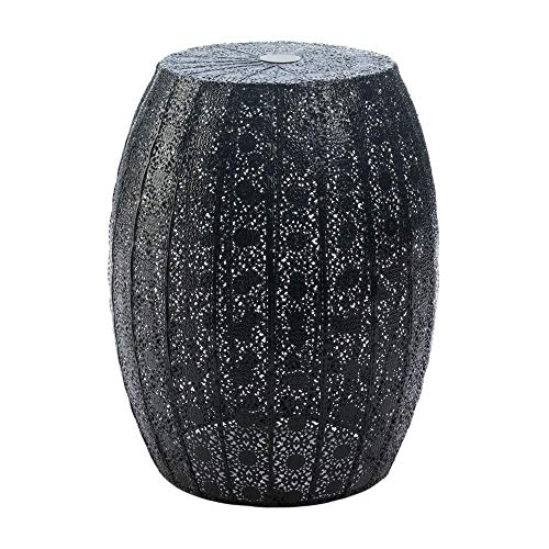 Iron Garden Stool, Metal Drum Stool, Bohemian Side Table, Metal Round Decorative Stool, Boho Patio Accent Tables, Black Patterned Stools, Moroccan Theme Decor, Moroccan Style Gifts, Sunroom Furniture
