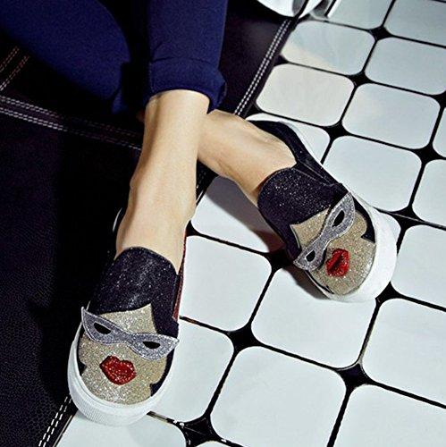 Sfnld Womens Mignonne Ronde Toe Bande Dessinée Paillettes Plate-forme Slip Sur Mocassins Chaussures Rouge