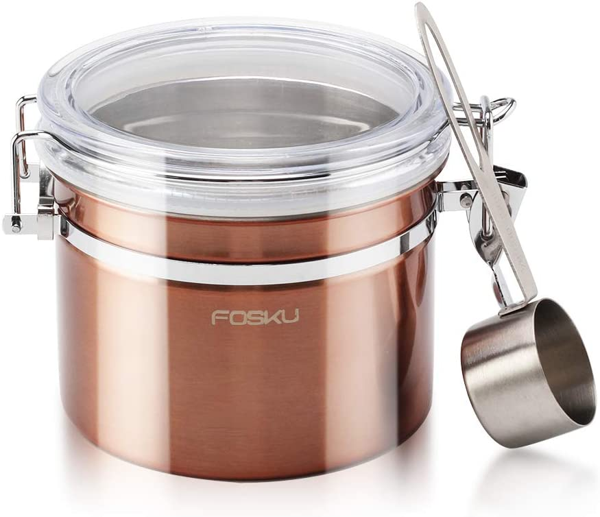 FOSKU Airtight Coffee Canister, Stainless Steel Ground Coffee Container with Scoop, Coffee Bean Tea Sugar Dry Food Storage Container with Clear Lid, 12oz, Copper