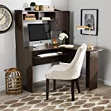 L Shaped Student Office Desk, Black and Cherry (Black and Cherry)