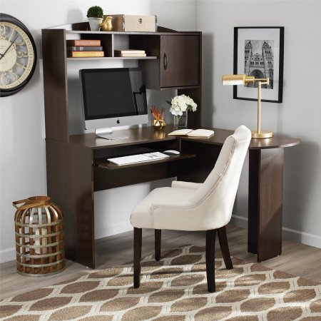 L Shaped Student Office Desk, Black and Cherry (Black and Cherry) ()