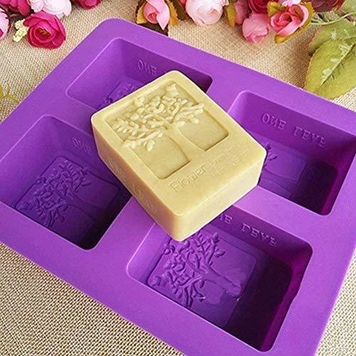 Kakasogo 2017 Newest 4 Cavity Flower Tree Rectangular Silicone Soap Cake Chocolate Mold Trays DIY Handmade Cupcake Baking Candle Craft Art Pans Flexible Sturdy Mould Tool Set(Random Color)