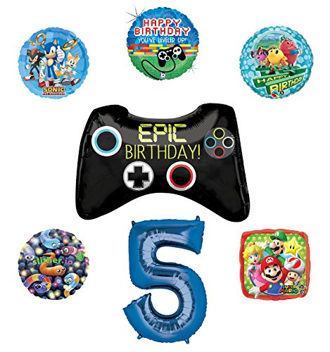 Video Gamers 5th Birthday Party Supplies and Balloon Decorations (Sonic, Super Mario, Pac Man and Slither.io) -
