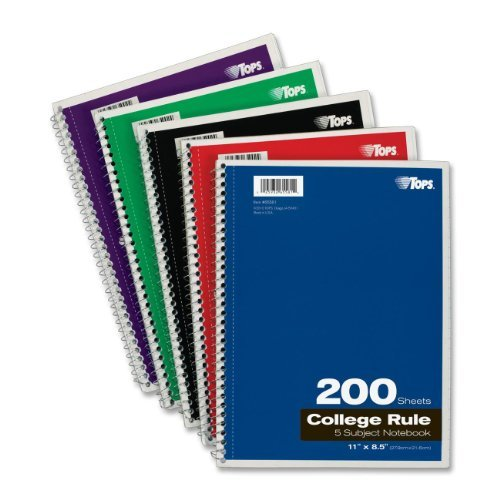TOPS 5-Subject Wirebound Notebook, College Rule, 8.5 x 11 Inches, White, 200 (Wirebound Rule)