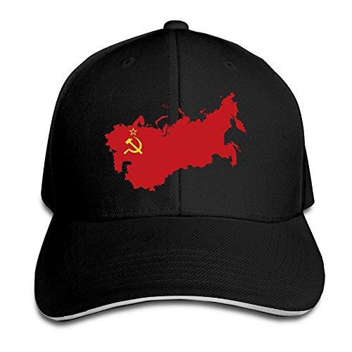 Price comparison product image Soviet Union Flag Map Black Adjustable Snapback Caps Unisex Sandwich Hats