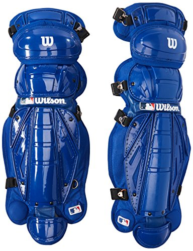 (Wilson Silver Series Hinge FX 2.0 Baseball Catcher's Leg Guards (Royal, 15-Inch))