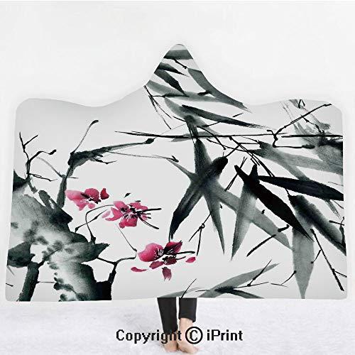 Traditional House Decor 3D Print Soft Hooded Blanket Adult Premium Throw Blanket,Lightweight Microfiber,Natural Sacred Bamboo Stems Cherry Blossom Folk Art Print,All Season for Adult(60
