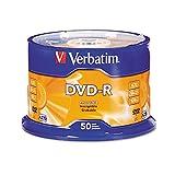 Verbatim 95101 DVD-R Discs, 4.7GB, 16x, Spindle, Silver, 50/Pack