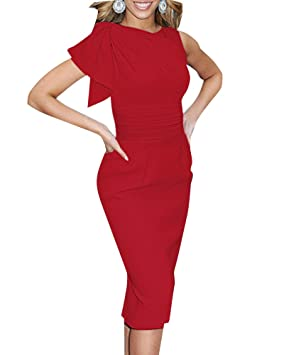 Mujer Elegantes Sin Mangas Flounced Retro Lápiz Midi Vestidos De Fiesta Boda Cóctel Cortos Tamaño Grande