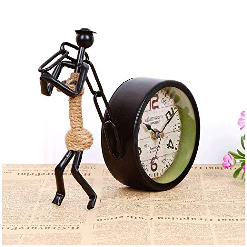 Single Villains - CLOCKZHJI Retro Desk Clock Watch Vintage Wrought Iron Villain Single-Sided Clock Home Crafts European Decorative Wrought Iron Ornaments 21 5 17cm Table Clock