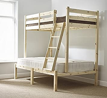 Three Sleeper Bunk Bed 4ft 6 Double Triple Sleeper Bunkbed Heavy