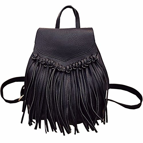 Tassel PU Leather Backpack Vintage Women Fringe Tassel Daypack Casual Travel Hobo Bag