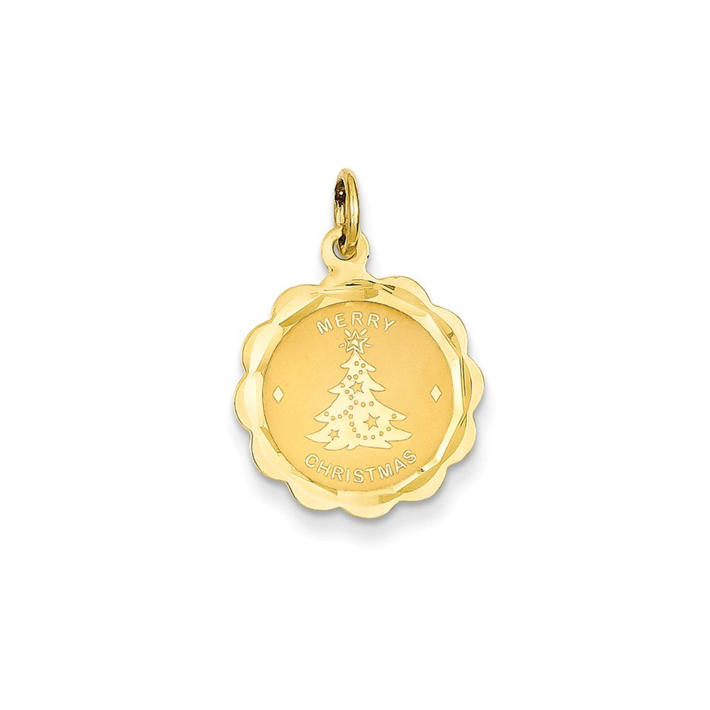 Pendants Celebration Charms 14K Yellow Gold Merry Christmas with Tree on Disc Charm Pendant