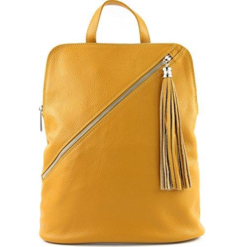 modamoda de - Made in Italy - Bolso mochila  para mujer T161 Senfgelb