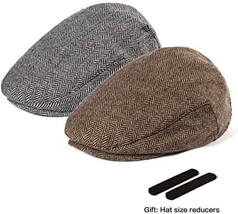 2a3357a2775 LADYBRO Men Newsboy Cap Ivy Hat - 30% Wool Cabbie Hats for Men Irish Tweed