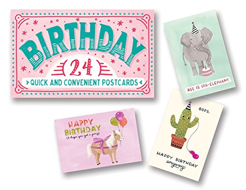 Studio Oh! Snail Mail Postcards Available in 4 Different Themes, Book of 24, Birthday Wishes
