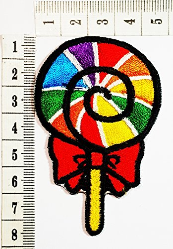 Rainbow Fancy Sweet Lollipop Candy patch Cartoon Children Kids Embroidered Iron patch / Sew On Patch Clothes Bag T-Shirt Jeans Biker Badge Applique