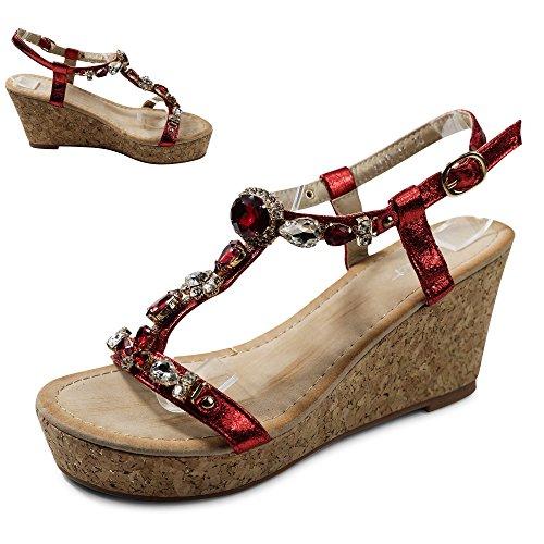 Schuhtraum Damen Sandalen Keilabsatz Sandaletten Glitzer High Heels Wedge ST921 Rot