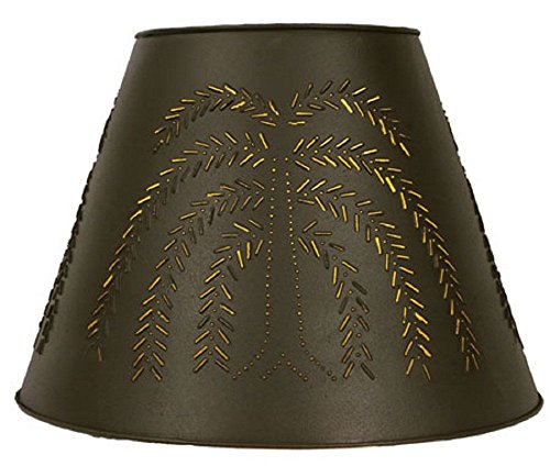 - CTW Home Collection Rustic Brown Willow Tin Washer Top Lamp Shade