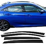 Window Visor Fits 2016-2018 Honda Civic Hatchback   MU Style ABS Rain Vent Shade Wind Deflector by IKON MOTORSPORTS   2017