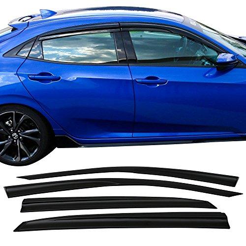 Honda Fit Vent Visor (Window Visor Fits 2016-2018 Honda Civic Hatchback | MU Style ABS Rain Vent Shade Wind Deflector by IKON MOTORSPORTS | 2017)