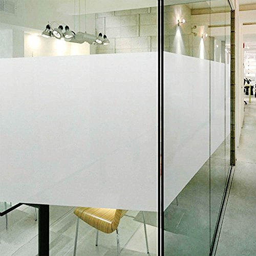 DUOFIRE Privacy Window Film Frosted Glass Film Matte White Static Cling Glass Film No Glue Anti-UV Window Sticker Non Adhesive for Privacy Office Meeting Room Bathroom Living Room 23.6in. x 157.4in.