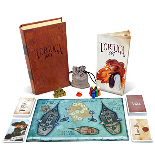 Tortuga 1667 Board Game – Treasure Plunder Game for Friends and Family – A Game of Cards, Strategy, Deceit, and Luck for 2-9 Players
