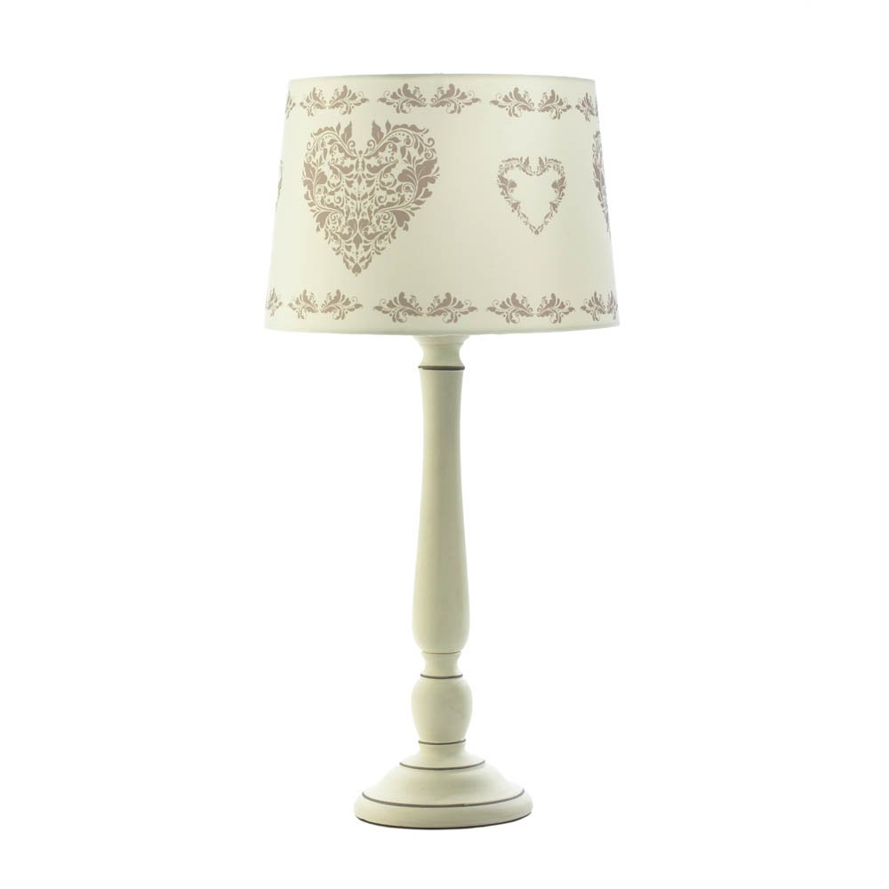 Vintage-Look Country Hearts Ceramic Table Lamp