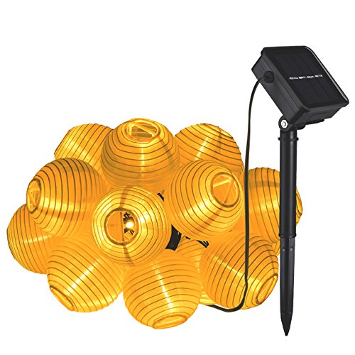 UPC 632423304849, Cymas Solar 20 LED String Lights Lantern Waterproof Ambient Outdoor Lighting for Home, Garden Décor