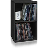 Way Basics 2-Shelf Vinyl Record Storage Cube and LP Record Album Storage Shelf, Black