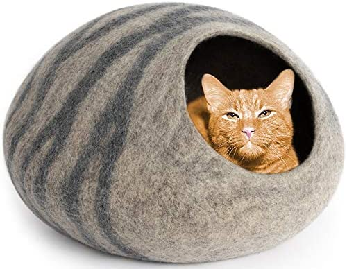 Meowfia Premium Felt Cat Cave Bed Large Eco Friendly 100 Merino Wool Bed For Large Cats And Kittens Large Light Grey Pet Supplies
