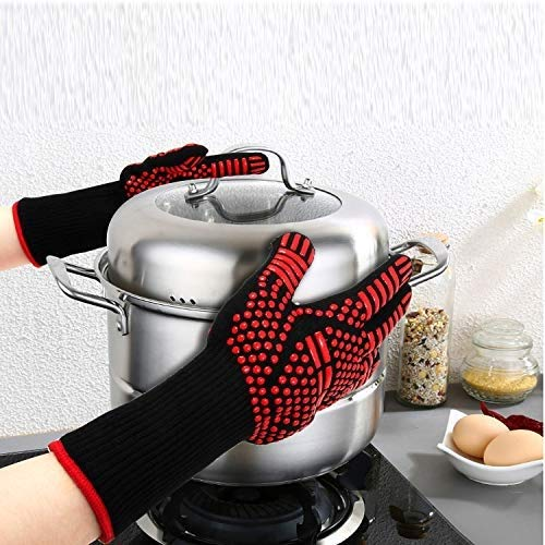 AINIYF Professional Heat Resistant Gloves, Fire Proof Mittens with Forearm Protection,Gloves 1472°F Degree Heat Resistance for Grilling/Welding/Kitchen Cooking/Oven/BBQ, 1 Pair by AINIYF (Image #4)