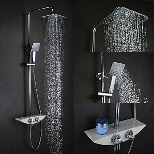 LightInTheBox Wall-Mounted Brass Chrome Finish 38 ℃ Smart Thermostatic Shower Faucets Set, Rainfall, Shower Head and Shower Hand Included. Lightinthebox®