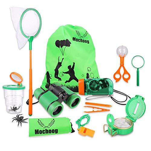 Mochoog Outdoor Explorer Kit for Kids - STEM Educational Exploration Toys - Binoculars, Flashlight, Compass, Magnifying Glass, Butterfly Net etc, Gift Set for Backyards Camping Hiking