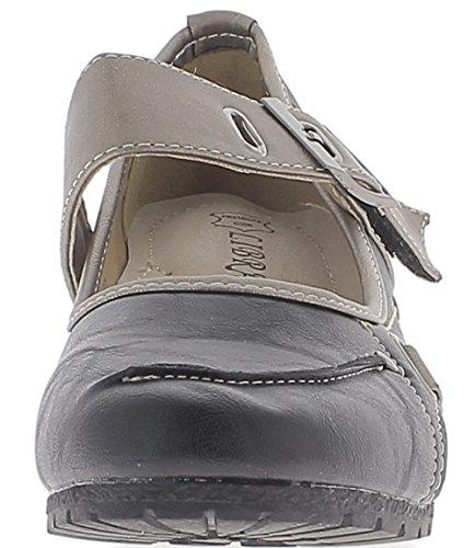Scarpe donna nero e argento per compensare tacchi comodi 5,5 cm