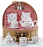 """Child's Porcelain Tea Set in Wicker Basket, Real Pouring Teapot, """"Red Cherries"""""""