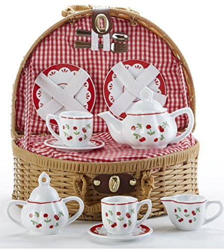 Child's Porcelain Tea Set in Wicker Basket, Real Pouring Teapot,
