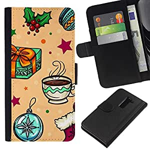 KLONGSHOP // Tirón de la caja Cartera de cuero con ranuras para tarjetas - Recuerdos Felices los niños de invierno - LG G2 D800 //