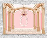 Cheap Ambesonne Teen Girls Decor Tapestry, Interior of The Ballroom Magic Castle Chandelier Ceiling Columns Kingdom Print, Wall Hanging for Bedroom Living Room Dorm, 80 W X 60 L, Baby Pink and Cream
