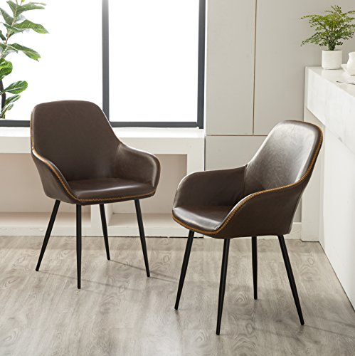 Roundhill Furniture Horgen Contemporary Faux Leather Dining Chairs, Set of 2, Brown
