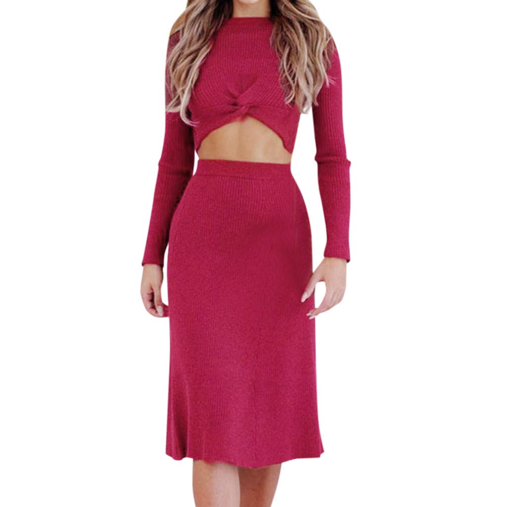 Women's 2 Piece Outfits Long Sleeve Crop Tops Front Twist Knot Ribbed Knit High Waisted Bodycon Pencil Skirt Set Midi Dress for Casual Evening Party by Armfre women-dress