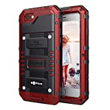 Mitywah Case for iPhone 6 / 6s Plus,Full Sealed Waterproof Heavy Duty Metal Cover with Built-in Screen Protection,Armor Military Shockproof Snowproof Dirtproof for Outdoor Sports-Diving, Climbing, Red
