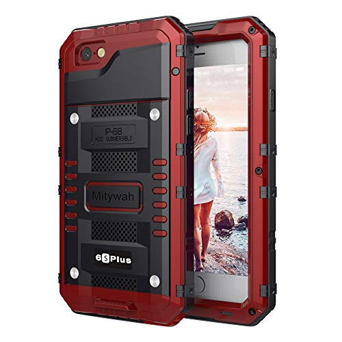 Mitywah iPhone 6 Plus/iPhone 6S Plus Case Heavy Duty Durable Metal Full Body Protective Case Built-in Screen Protection Waterproof Shockproof Dustproof Rugged Military Grade Defender, Red
