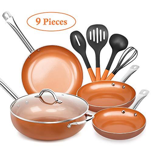 SHINEURI 9 Piece Copper Nonstick Cookware Set - 8/9.5/11 inch Frying Pan Set, 12 inch Woks and Stir Fry Pans with Lid, 4 Piece Set Cooking Utensils - Dishwasher Safe, PFOA/PTFE Free