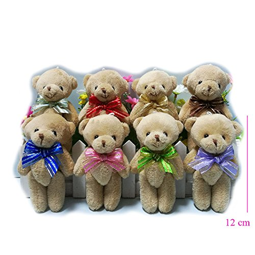 ZhinderLand Wholesale 12cm Plush Jointed Teddy Bear Package Of Assorted Ribbon Bears (24 pcs) -