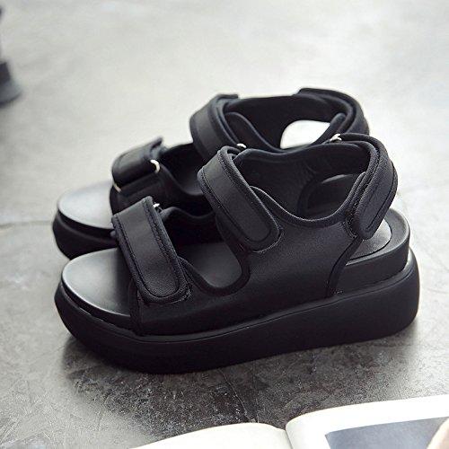 Platform Elev Sommer Sandaler Tykt Roma 38 Nye Sort Sko Læder Qqwweerrtt Mode Universelle Bd1wRBq0