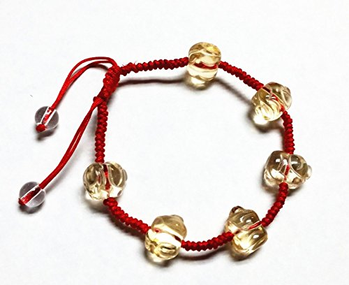 Feng Shui Red String Bracelet With Citrine Yellow Crystal...
