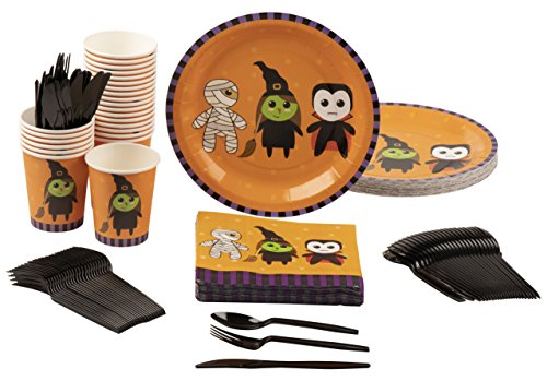 Disposable Dinnerware Set - Serves 24 - Halloween Party Supplies with Mummy, Witch and Vampire for Kids, Includes Plastic Knives, Spoons, Forks, Paper Plates, Napkins, Cups for $<!---->
